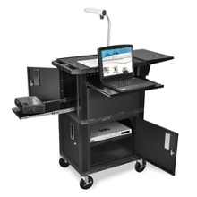 Five Shelf Presentation Cart with Locking Cabinet, 43200