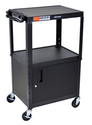 Adjustable Height Steel AV Cart with Cabinet, 43202