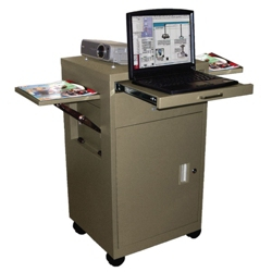 Multimedia Cart with Cabinet and Pop-up Shelves, 43204