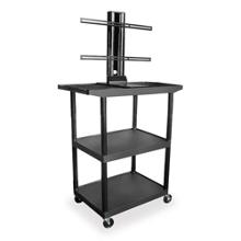 "Three Shelf Flat Panel TV Cart with Reinforced Shelf - 48"" H, 43208"