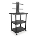 "Three Shelf Flat Panel TV Cart with Reinforced Shelf - 48"" H, 43208"