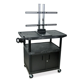 "Flat Panel TV Cart with Reinforced Shelf and Locking Cabinet - 40"" H, 43210"