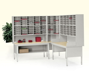 120 Slot Complete Mail Center with Sorting Tables, 33213