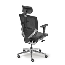 Arris High-Back Mesh Chair with Memory Foam Leather Seat, 50787