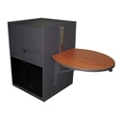 Steel Media Stand with Acrylic Door and Side Shelves, 43221