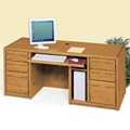 Medium Oak Executive Computer Desk, 10913