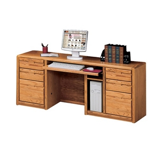 "Medium Oak Computer Credenza - 68.25""W, 10914"