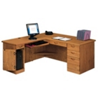 Medium Oak Computer L-Desk with Left Return, 10979