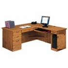 Medium Oak Computer L-Desk with Right Return, 10980