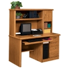 Medium Oak Computer Desk and Hutch Set, 10984