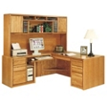 Medium Oak Left Return L-Desk with Storage Hutch, 13085