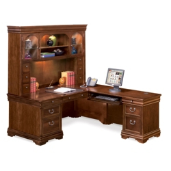 Pont Lafayette L-Desk with Right Return and Hutch Set, 13314