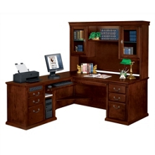 Huntington Cherry L-Desk with Left Return and Hutch, 13393