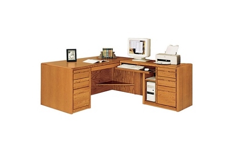 "Medium Oak L-Desk with Right Return and CPU Storage - 68.25""W, 15095"