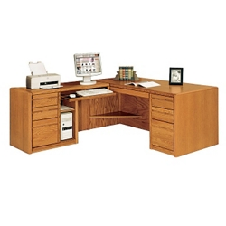 "Medium Oak L-Desk with Left Return and CPU Storage - 68.25""W, 15096"
