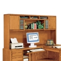 "Medium Oak Two Door Hutch for L-Desk - 79""W, 15097"