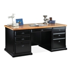 Distressed Black and Oak Executive Desk, 15222
