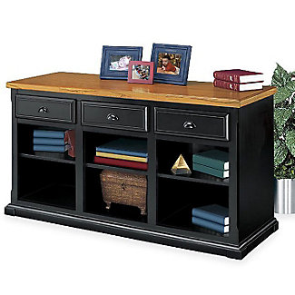 Distressed Black And Oak Open Credenza 15227 And More
