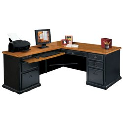 black and oak l desk with left return 15229 and more office desks