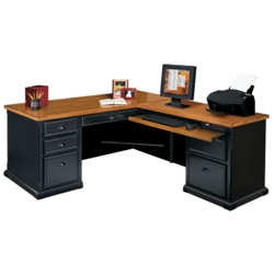 Black and Oak L-Desk with Right Return, 15230