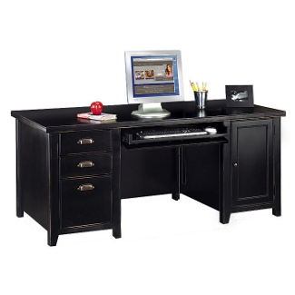 Computer Desk with Keyboard Drawer with a Distressed Finish, 15351