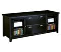 Storage Credenza with Sliding Glass Doors in a Distressed Finish, 15355