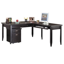 L-Shaped Desk with Mobile File in a Distressed Finish, 15537