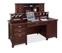 Cherry Computer Desk with Hutch, 15670