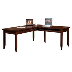 L-Shaped Writing Desk with Pencil Drawer and Return