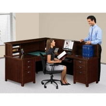 Right Return Reception L-Desk with Counter, 15762