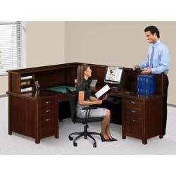 Right Return Reception L-Desk with Counter, 15762