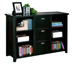 """60"""" W Three Drawer File and Bookcase in Distressed Finish, 31584"""