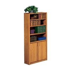 "Medium Oak Bookcase with Doors - 70""H, 32509"