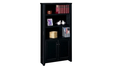 "70"" H Five Shelf Bookcase with Doors with a Distressed Finish, 32645"