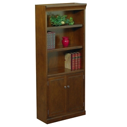 "Statesman 72"" H Five Shelf Veneer Bookcase with Doors, 32883"