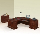 Cobblestone Cherry L-Desk with Right Return and Lateral File, 86183