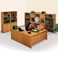 Contemporary Oak Right L-Desk Office Set, 86188