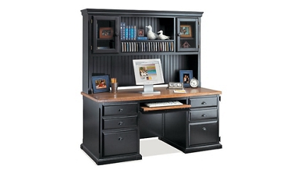 Distressed Black with Oak Top Desk with Hutch, 15718