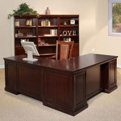Espresso L-Desk with Set of Bookcases, 15942