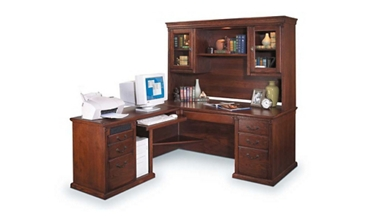 Burnished Oak Left Return L Desk with Hutch, 15616