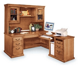 Wheat Oak Right L Desk and Hutch, 15595