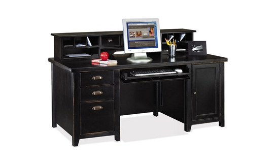 Distressed Finish Computer Desk with Short Hutch, 15540