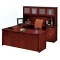 Clever U-Desk with Right Bridge and Hutch, 13387