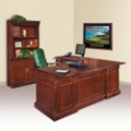 Keswick L-Desk with Left Return and Doored Bookcase, 13391