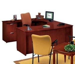 U-Desk with Left Multi-File Credenza, 15155