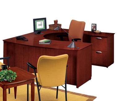 U-Desk with Right Multi-File Credenza, 15156