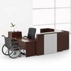Wood Veneer Reception U-Desk with Left Return, 15840