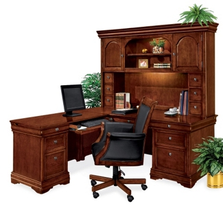 Left L-Desk with Hutch and Chair, 14307
