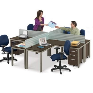 At Work Four Person Compact Workstation Set, 13380-1