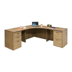 "Wood Grain Corner Desk with Pedestal - 77.5""W, 14292"